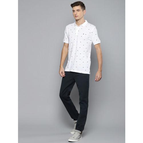 Louis Philippe Jeans Men White Striped Polo Collar T-shirt