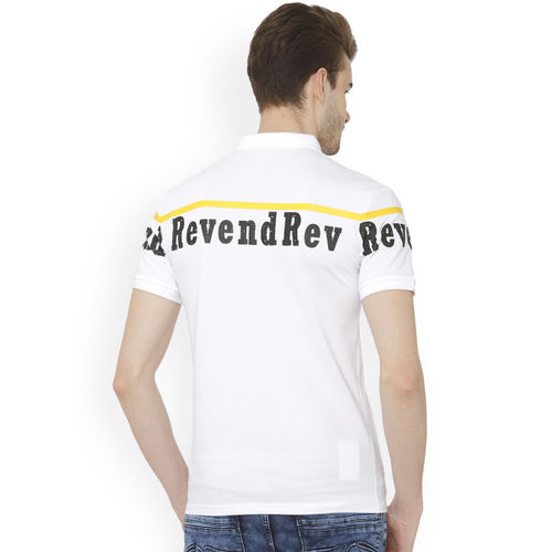 Rex Straut Jeans Men White Printed Polo Collar T-shirt