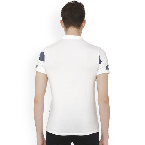 Rex Straut Jeans Men White Printed Polo Collar T-shirt