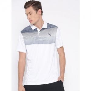 Puma Men White Striped Polo Collar T-shirt