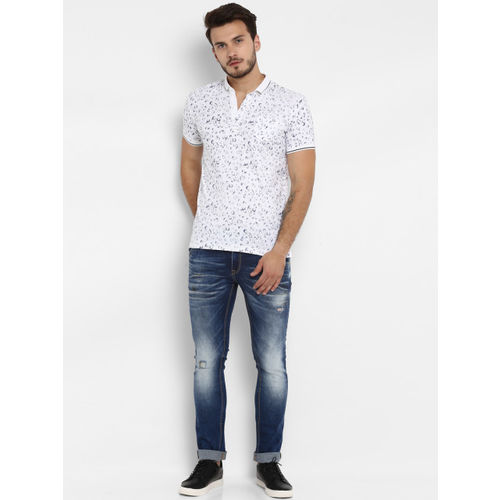 Mufti Men White & Blue Printed Slim Fit Polo Collar T-shirt