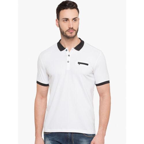 Status Quo Men White Solid Slim Fit Polo Collar T-shirt