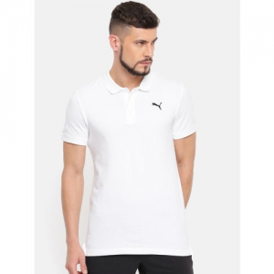 Puma Men White Solid ESS Pique DRY-CELL Polo Collar T-shirt