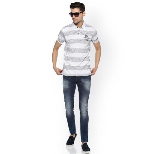 SPYKAR Men White Striped Polo Collar Slim Fit T-shirt