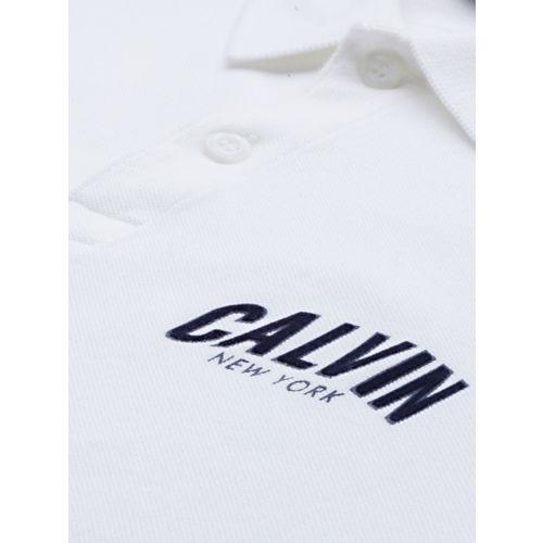 Calvin Klein Jeans Men White Solid Polo Collar T-shirt