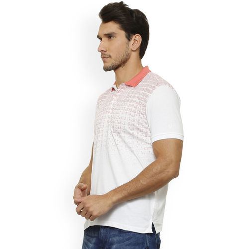 Solly Sport Men White Printed Polo Collar T-shirt