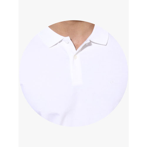 Calvin Klein Jeans White Solid Regular Fit Polo T-Shirt