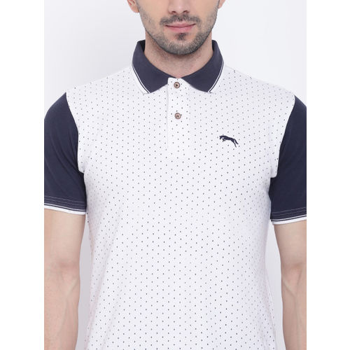 JUMP USA Men White Printed Polo Collar T-shirt
