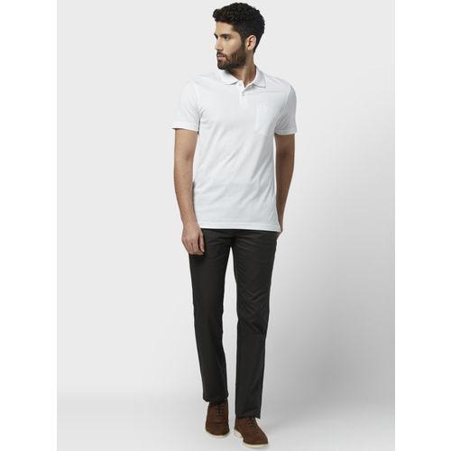 Park Avenue Men White Solid Polo Collar T-shirt