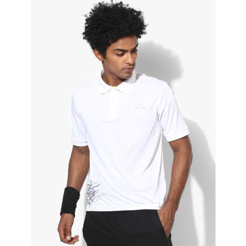 Alcis Men White Printed Polo Collar T-shirt