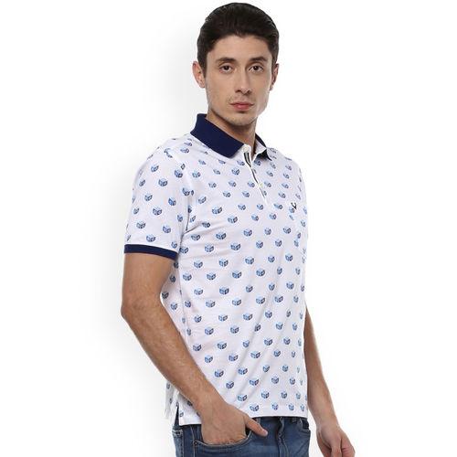 Allen Solly Men White & Blue Printed Polo Collar T-shirt
