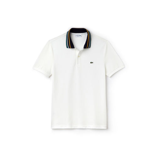 Lacoste Men White Solid Polo Collar T-shirt