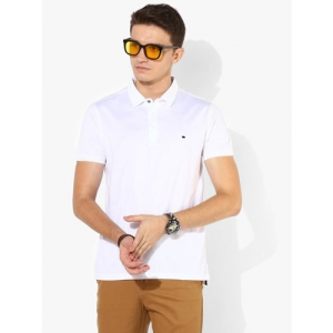 True Blue White Solid Slim Fit Polo T-Shirt