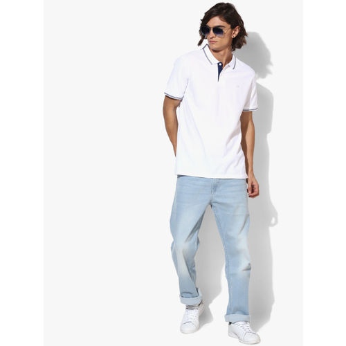 Calvin Klein White Solid Slim Fit Polo T-Shirt