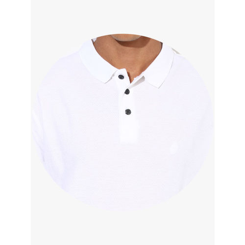Indian Terrain White Solid Regular Fit Polo T-Shirt