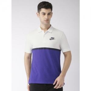 27082cc626f87 Nike Men White   Purple Colourblocked MATCHUP PQ NVLTY Polo Collar T-shirt