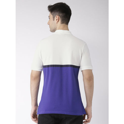 Nike Men White & Purple Colourblocked MATCHUP PQ NVLTY Polo Collar T-shirt