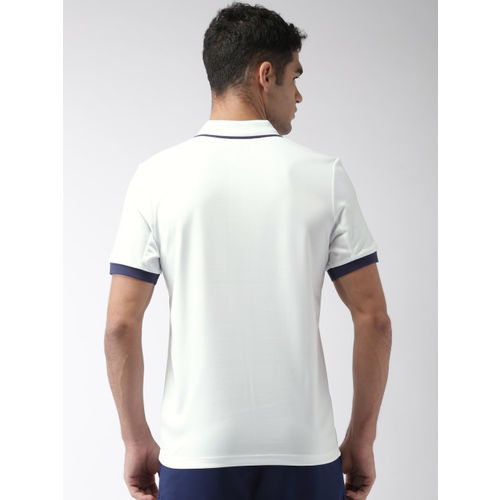 YONEX Men White Printed Polo Collar T-shirt