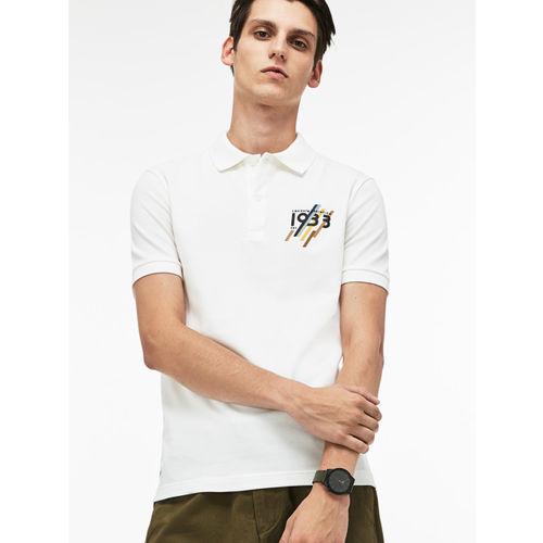 748c385a0e Lacoste Men White Slim Fit 1933 Lettering Stretch Mini Pique Polo