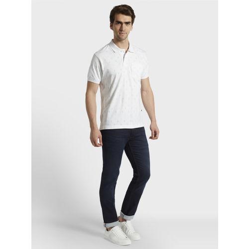 Parx Men White Printed Polo Collar T-shirt