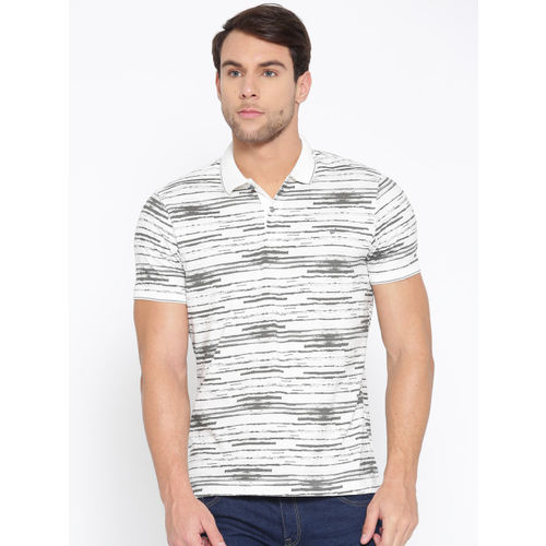 Blackberrys Men White & Grey Printed Polo Collar T-shirt