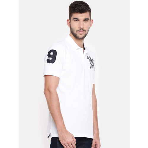 Chennis Men White Solid Slim Fit Polo Collar T-shirt