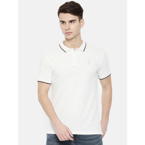 Pepe Jeans Men White Solid Polo Collar T-shirt