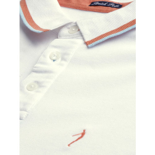 Indian Terrain Men White Stretch Fit Solid Polo Collar T-shirt