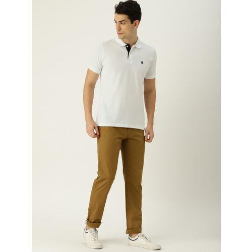 Van Heusen Men White Solid Polo Collar T-shirt