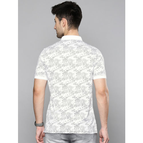 Louis Philippe Jeans Men White Printed Polo Collar T-shirt