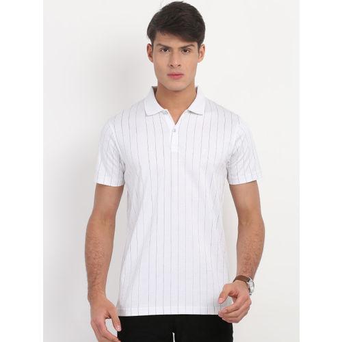Indian Terrain Men White Striped Polo Collar T-shirt