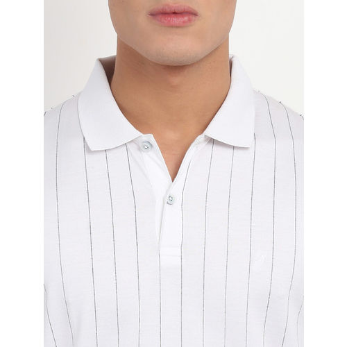 Indian Terrain Men White Striped Polo Collar T-shirt