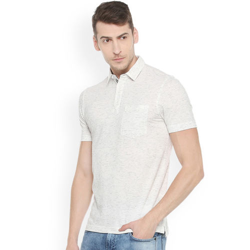 Van Heusen Sport Men White Solid Polo Collar T-shirt