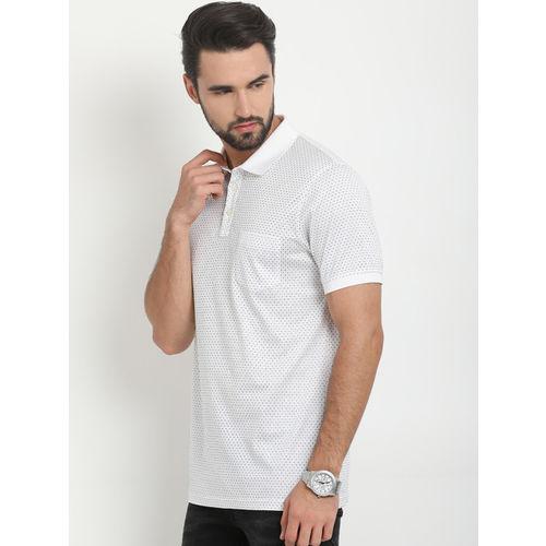 Indian Terrain Men White Printed Polo Collar T-shirt