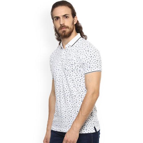 Mufti Men White Printed Polo Collar T-shirt