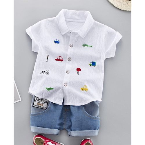 Pre Order - Awabox Short Sleeves Vehicle Print Shirt With Shorts - White