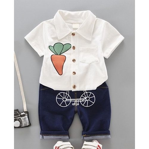 Pre Order - Awabox Carrot Patch Half Sleeves Shirt & Shorts Set - White
