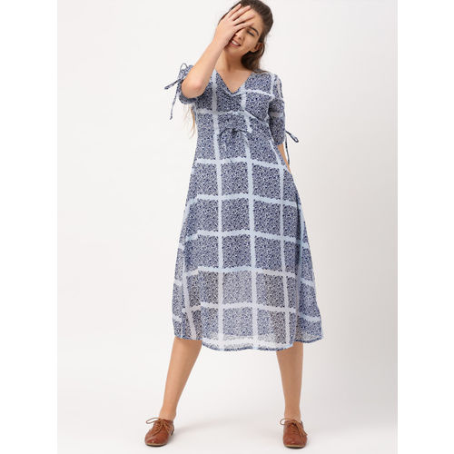 DressBerry Women Blue Printed A-Line Dress