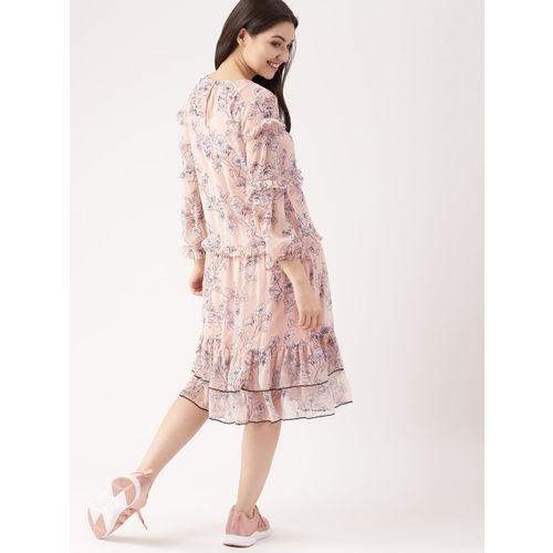 DressBerry Women Peach-Coloured Printed A-Line Dress