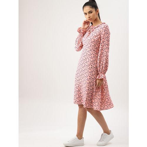 DressBerry Women Pink Printed A-Line Dress