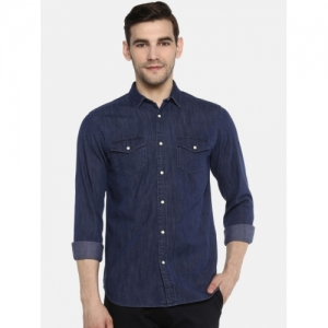 Jack & Jones Men Navy Blue Regular Fit Denim Casual Shirt