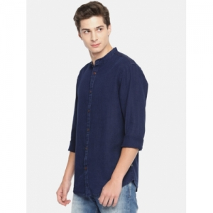 Jack & Jones Men Navy Blue Slim Fit Solid Casual Shirt
