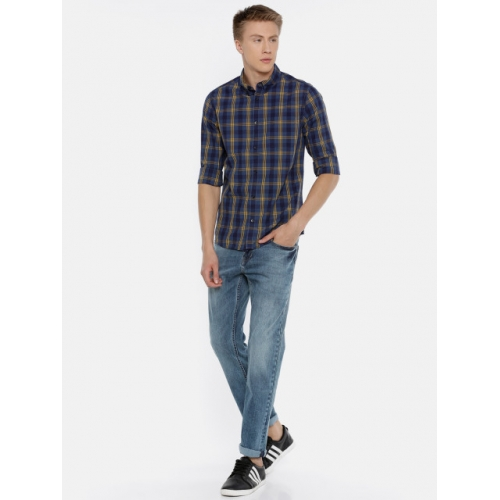 Jack & Jones Men Blue & Yellow Slim Fit Checked Casual Shirt