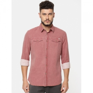 Jack & Jones Men Rust Red Regular Fit Textured Casual Shirt
