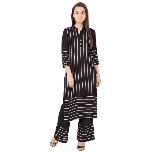 Kaprewala Black Reyon Gotta Patti Work Sytlish Straight Handwash Kurti With Plazzo