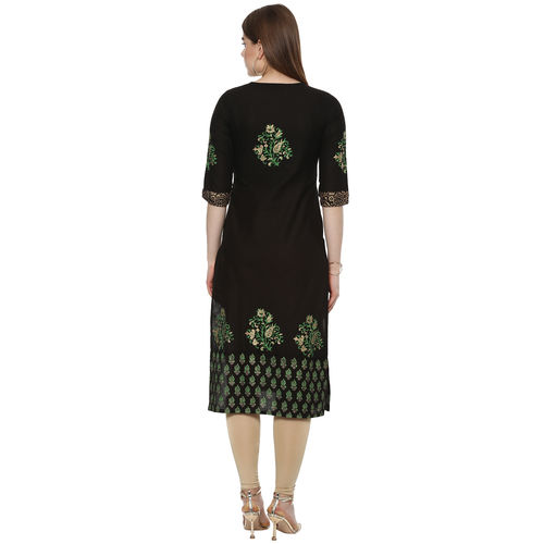 G collection G Black Printed Kurta