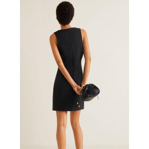 MANGO Black Solid Mini Sheath Dress