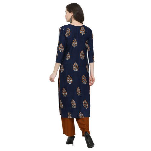 Swaron Rayon Blue Printed Stitched Kurta With Palazzo