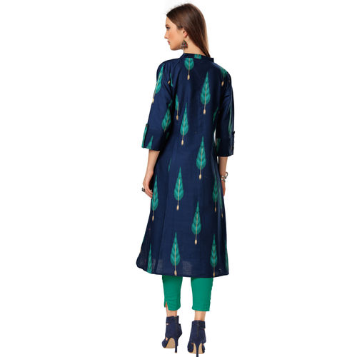 M & S FASHION MS Fashion Women's Blue Cotton Flex Printed Knee Length Kurti