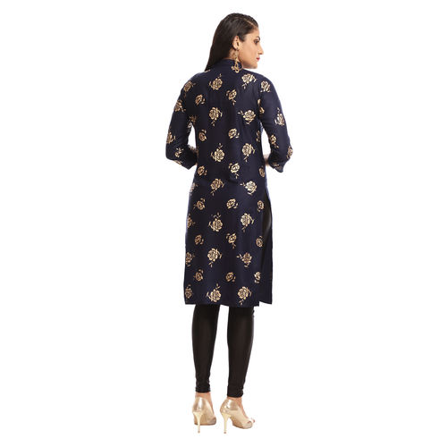 Grishti Navy Blue Polyester Block Printed 3/4th Sleeved Kurti for Women